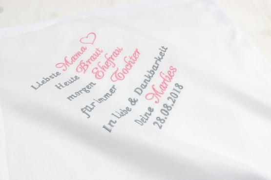Taschentuch besticken lassen Brautmutter, Taschentuch besticken lassen Brautvater, Taschentuch Freudentränen Brauteltern, Taschentuch bestickt Hochzeit