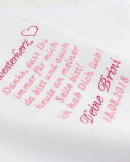 Besticktes Taschentuch für die Schwester der Braut, Besticktes Taschentuch für die Schwester des Bräutigams, Taschentuch besticken Hochzeit, Taschentuch besticken lassen zur Hochzeit